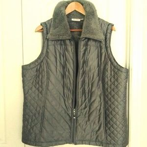 Silver Quilted Vest w/faux Shearling Lining